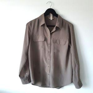 BANANA REPUBLIC Brown Collared Button Up Blouse